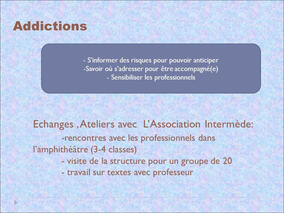 Addictions Echanges, Ateliers avec LAssociation Intermède: -rencontres avec les professionnels dans lamphithéâtre (3-4 classes) - visite de la structu
