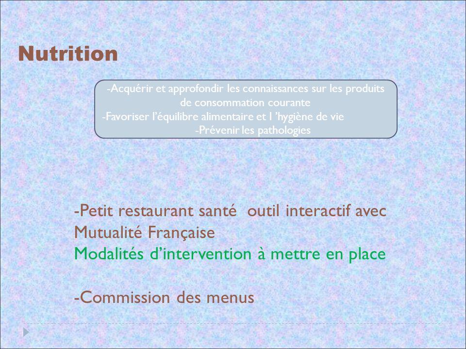 Nutrition -Acquérir et approfondir les connaissances sur les produits de consommation courante -Favoriser léquilibre alimentaire et l hygiène de vie -