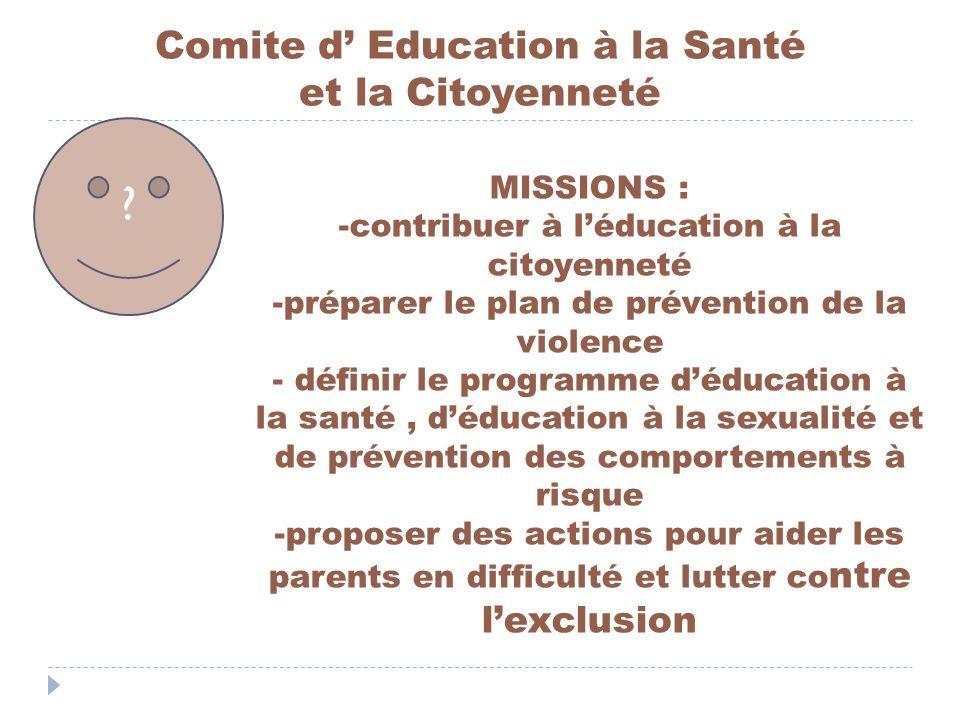 Comite d Education à la Santé et la Citoyenneté ? MISSIONS : -contribuer à léducation à la citoyenneté -préparer le plan de prévention de la violence