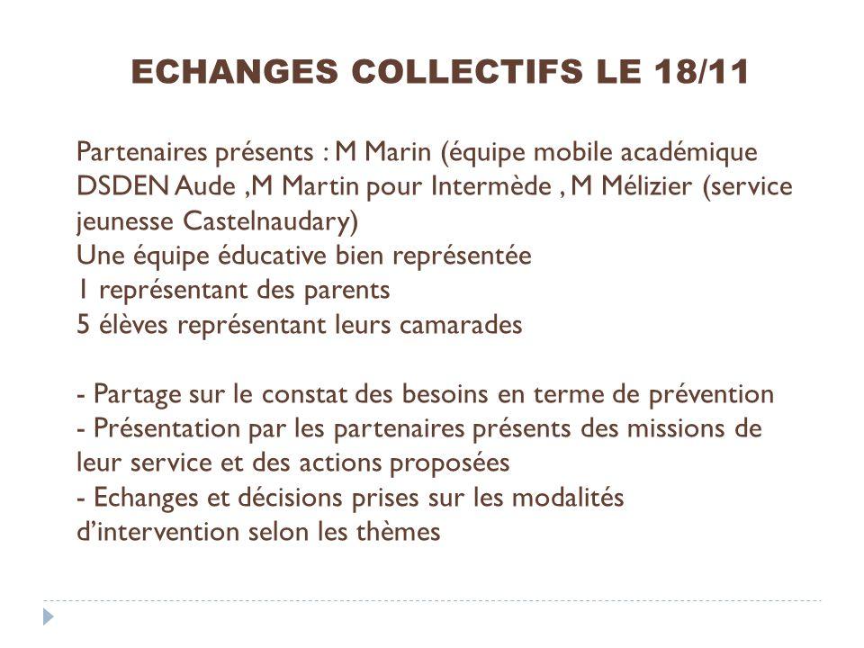 ECHANGES COLLECTIFS LE 18/11 Partenaires présents : M Marin (équipe mobile académique DSDEN Aude,M Martin pour Intermède, M Mélizier (service jeunesse