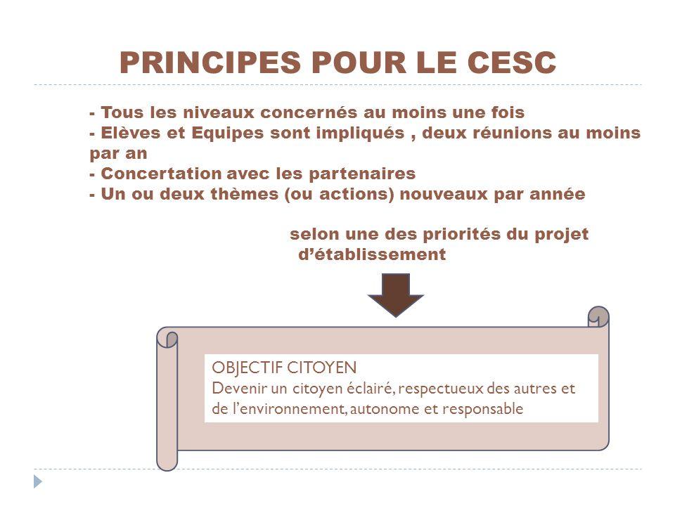 PRINCIPES POUR LE CESC - Tous les niveaux concernés au moins une fois - Elèves et Equipes sont impliqués, deux réunions au moins par an - Concertation