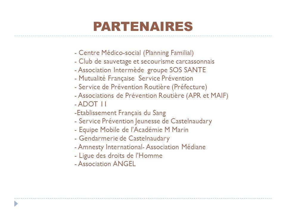 PARTENAIRES - Centre Médico-social (Planning Familial) - Club de sauvetage et secourisme carcassonnais - Association Intermède groupe SOS SANTE - Mutu