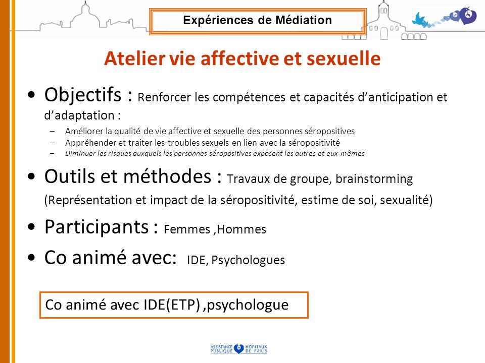 Atelier vie affective et sexuelle Objectifs : Renforcer les compétences et capacités danticipation et dadaptation : –Améliorer la qualité de vie affec