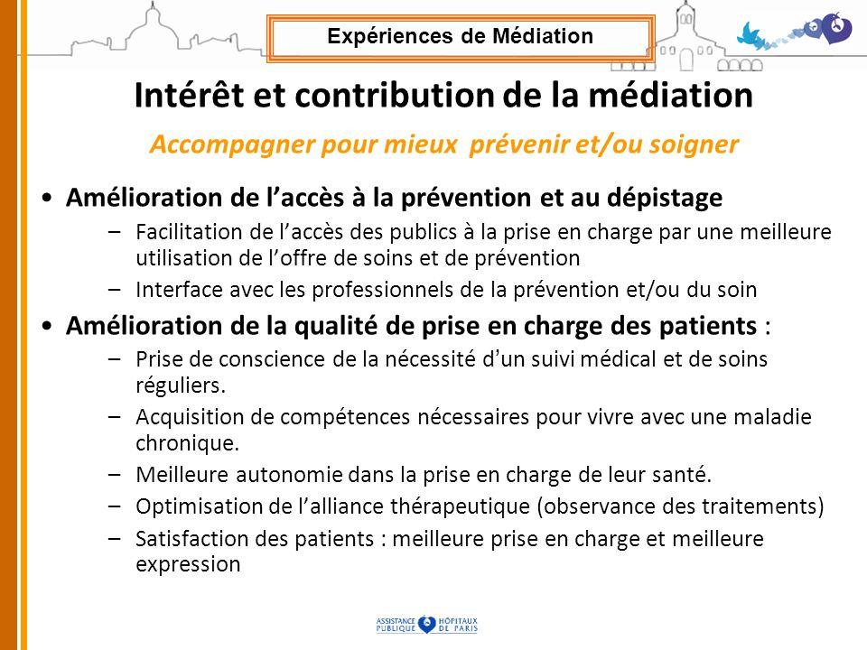 Intérêt et contribution de la médiation Accompagner pour mieux prévenir et/ou soigner Amélioration de laccès à la prévention et au dépistage –Facilita