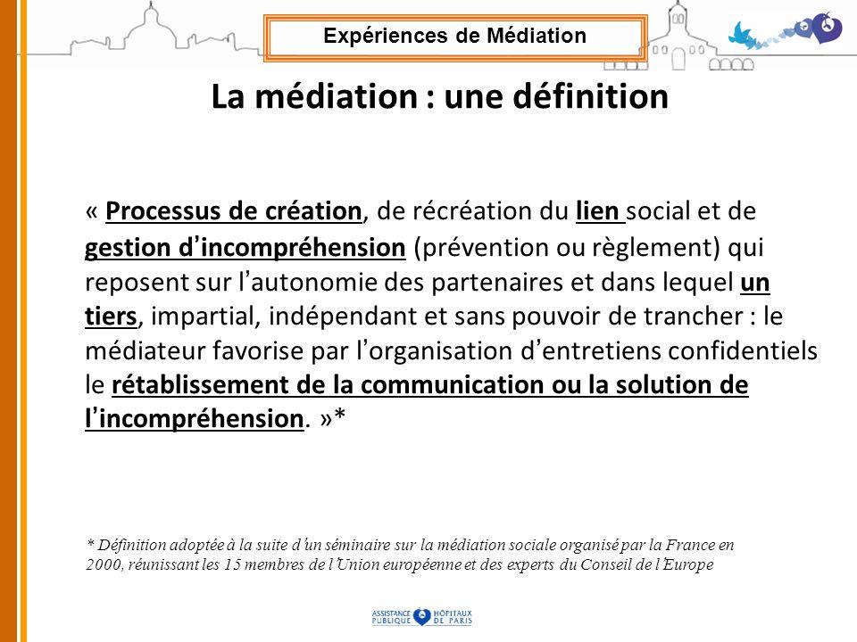 La médiation : une définition « Processus de création, de récréation du lien social et de gestion dincompréhension (prévention ou règlement) qui repos
