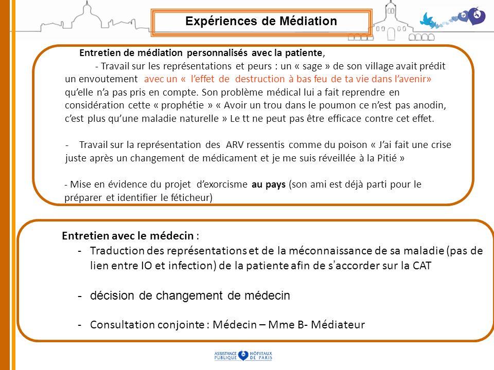 Entretien de médiation personnalisés avec la patiente, - Travail sur les représentations et peurs : un « sage » de son village avait prédit un envoute