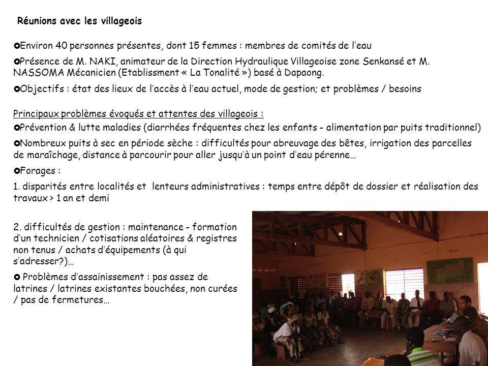 Taroudant Environ 40 personnes présentes, dont 15 femmes : membres de comités de leau Présence de M. NAKI, animateur de la Direction Hydraulique Villa