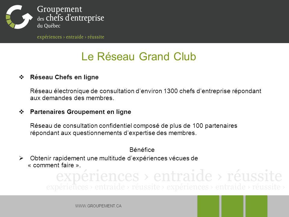 WWW.GROUPEMENT.CA Le Réseau Grand Club Réseau Chefs en ligne Réseau électronique de consultation denviron 1300 chefs dentreprise répondant aux demande