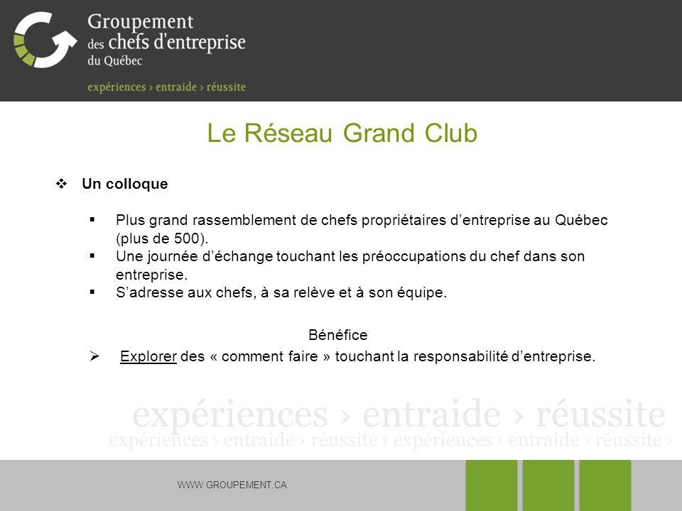 WWW.GROUPEMENT.CA Le Réseau Grand Club Un colloque Plus grand rassemblement de chefs propriétaires dentreprise au Québec (plus de 500).