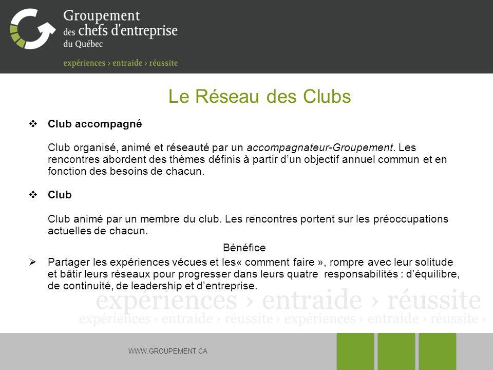 WWW.GROUPEMENT.CA Le Réseau des Clubs Club accompagné Club organisé, animé et réseauté par un accompagnateur-Groupement. Les rencontres abordent des t