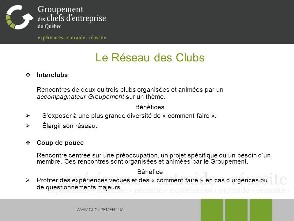WWW.GROUPEMENT.CA Le Réseau des Clubs Interclubs Rencontres de deux ou trois clubs organisées et animées par un accompagnateur-Groupement sur un thème
