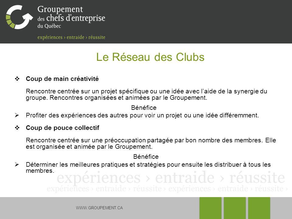 WWW.GROUPEMENT.CA Le Réseau des Clubs Coup de main créativité Rencontre centrée sur un projet spécifique ou une idée avec laide de la synergie du groupe.