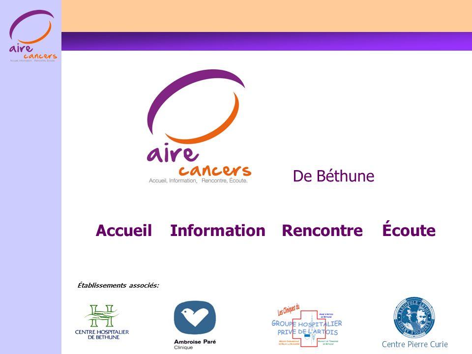 De Béthune Centre Pierre Curie InformationRencontreAccueilÉcoute Établissements associés: