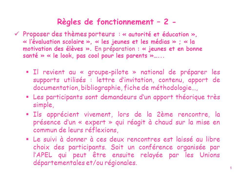 5 Règles de fonctionnement – 2 - Proposer des thèmes porteurs En préparation Proposer des thèmes porteurs : « autorité et éducation », « lévaluation s