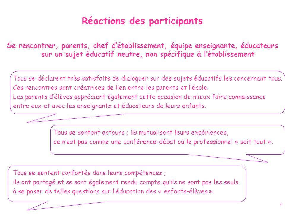 6 Réactions des participants Se rencontrer, parents, chef détablissement, équipe enseignante, éducateurs sur un sujet éducatif neutre, non spécifique
