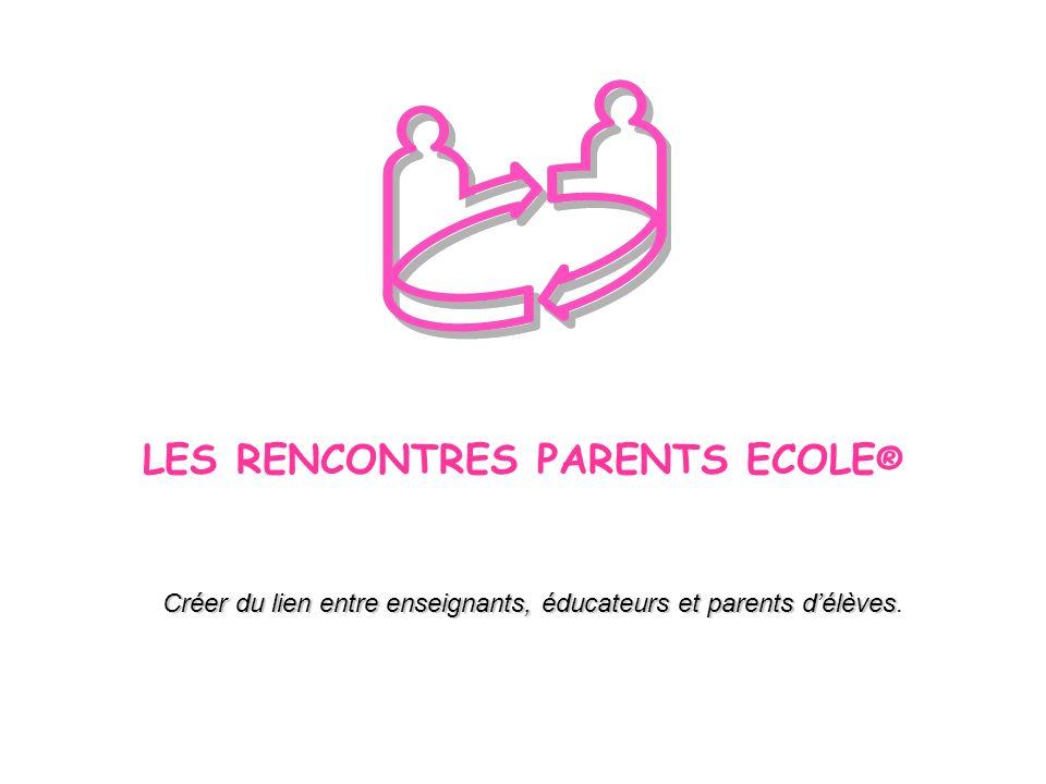 LES RENCONTRES PARENTS ECOLE ® Créer du lien entre enseignants, éducateurs et parents délèves Créer du lien entre enseignants, éducateurs et parents d