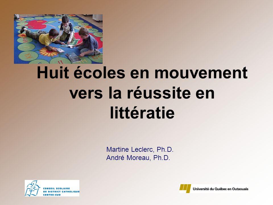 Huit écoles en mouvement vers la réussite en littératie Martine Leclerc, Ph.D. André Moreau, Ph.D.