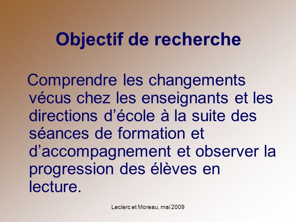 Leclerc et Moreau, mai 2009 Objectif de recherche Comprendre les changements vécus chez les enseignants et les directions décole à la suite des séance