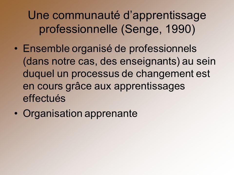 Une communauté dapprentissage professionnelle (Senge, 1990) Ensemble organisé de professionnels (dans notre cas, des enseignants) au sein duquel un pr