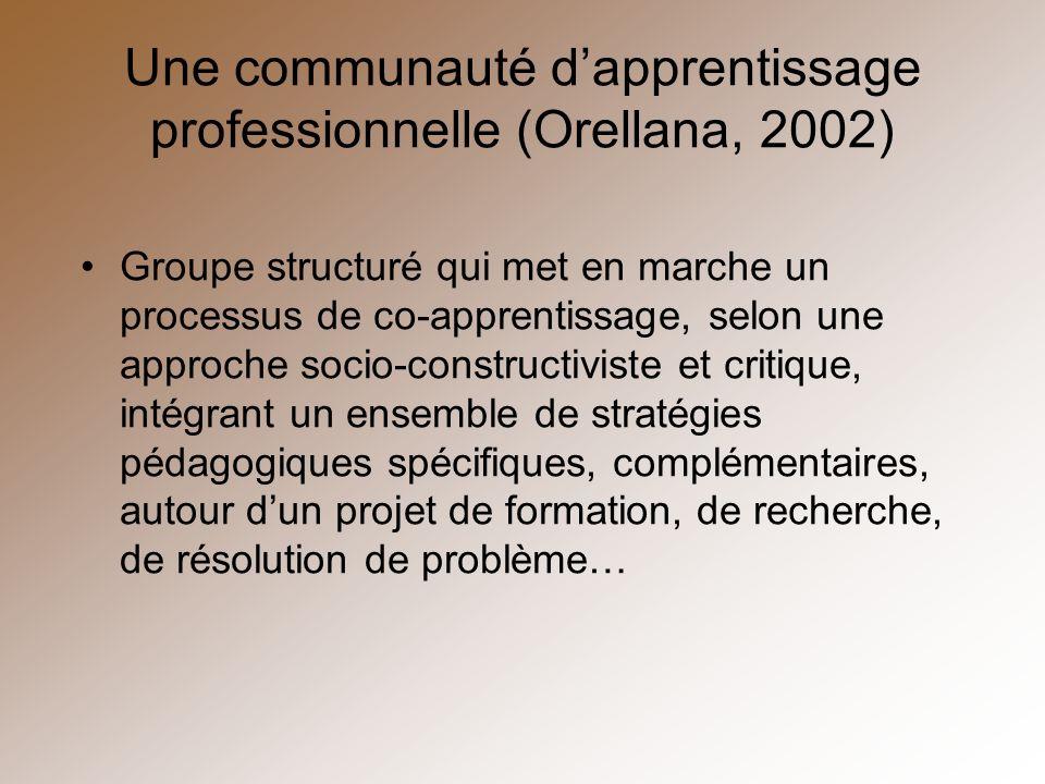 Une communauté dapprentissage professionnelle (Orellana, 2002) Groupe structuré qui met en marche un processus de co-apprentissage, selon une approche