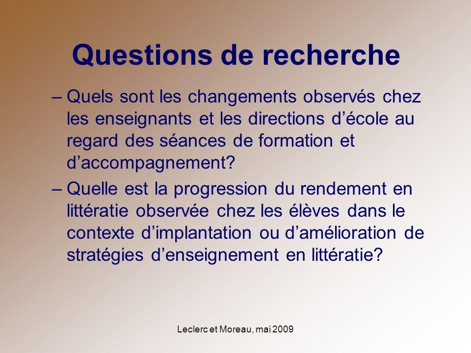 Leclerc et Moreau, mai 2009 Questions de recherche –Quels sont les changements observés chez les enseignants et les directions décole au regard des sé