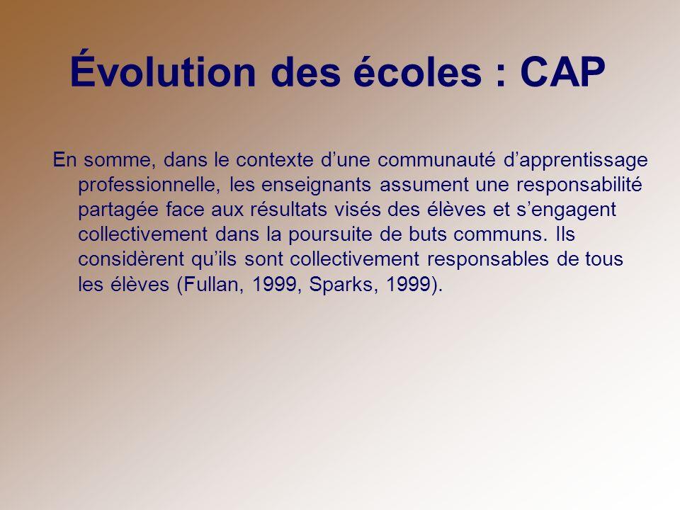 Évolution des écoles : CAP En somme, dans le contexte dune communauté dapprentissage professionnelle, les enseignants assument une responsabilité part