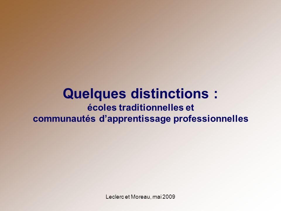 Leclerc et Moreau, mai 2009 Quelques distinctions : écoles traditionnelles et communautés dapprentissage professionnelles