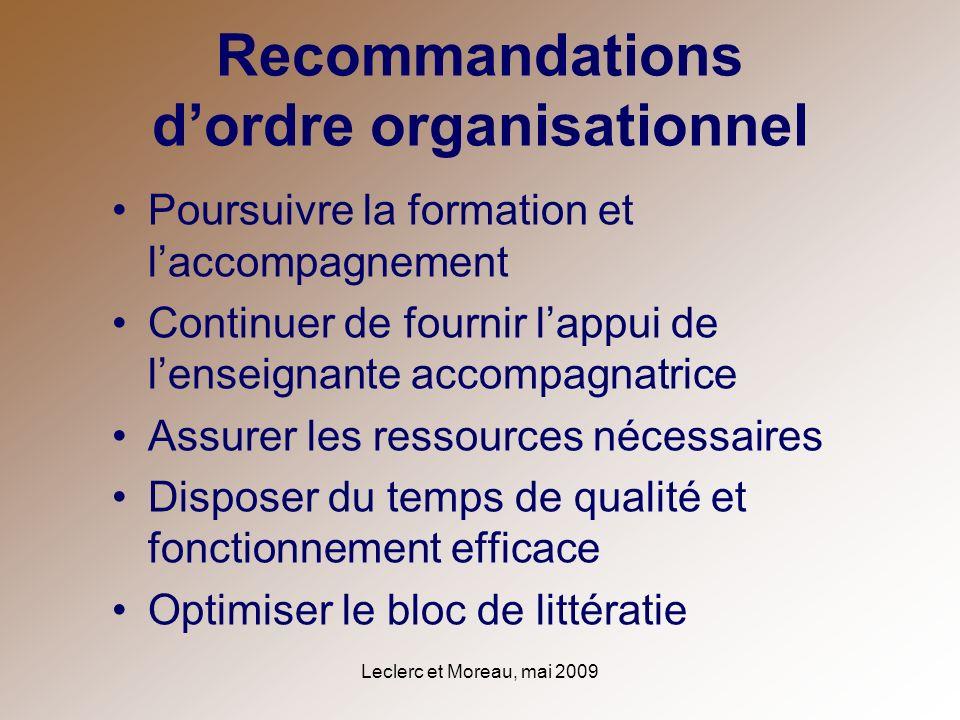 Leclerc et Moreau, mai 2009 Recommandations dordre organisationnel Poursuivre la formation et laccompagnement Continuer de fournir lappui de lenseigna