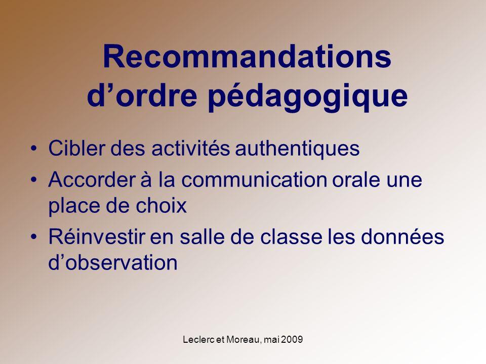 Leclerc et Moreau, mai 2009 Recommandations dordre pédagogique Cibler des activités authentiques Accorder à la communication orale une place de choix