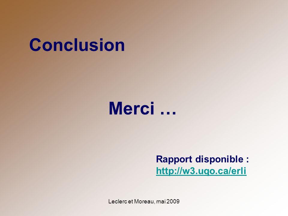 Leclerc et Moreau, mai 2009 Conclusion Merci … Rapport disponible : http://w3.uqo.ca/erli http://w3.uqo.ca/erli