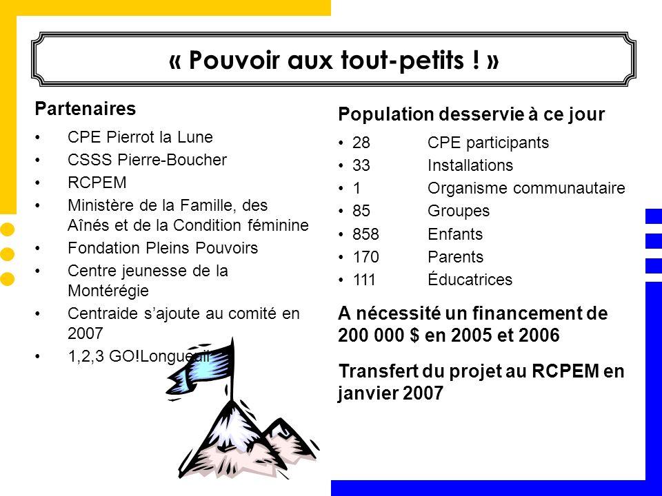 Semaine québécoise des familles CDC de Longueuil Service du loisir, de la culture et du développement social et communautaire – arrondissement Vieux-Longueuil RCPEM CPE Pierrot la Lune 1,2,3 GO.