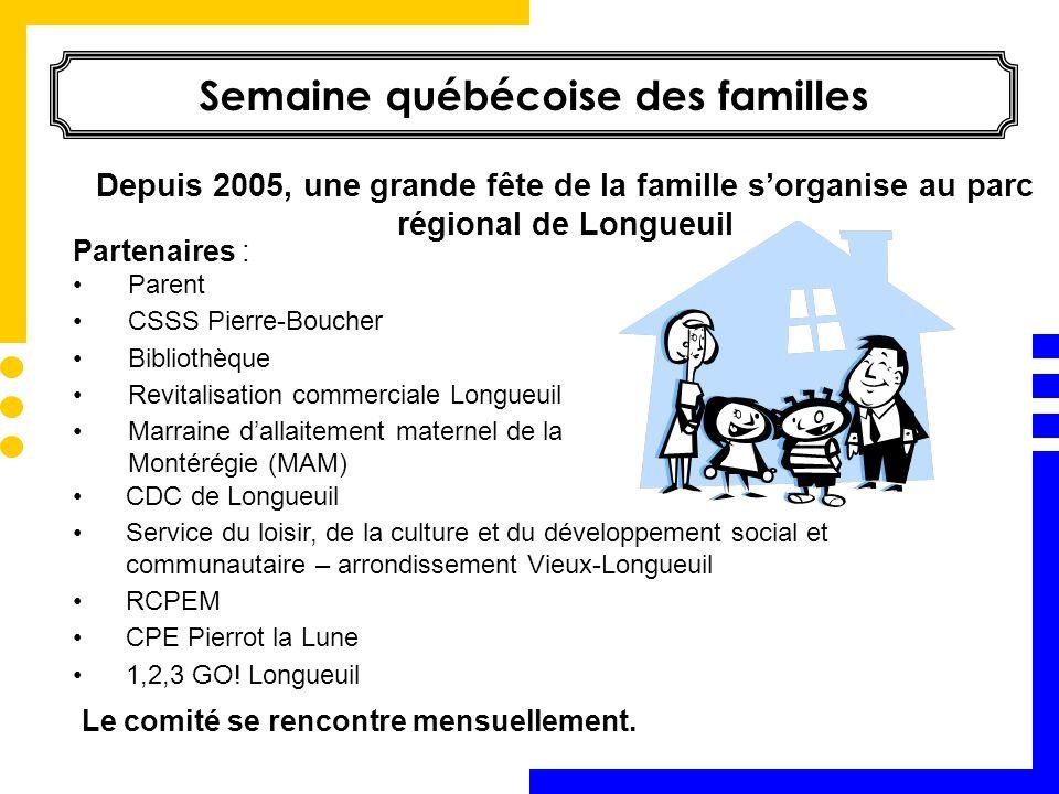 Semaine québécoise des familles CDC de Longueuil Service du loisir, de la culture et du développement social et communautaire – arrondissement Vieux-L
