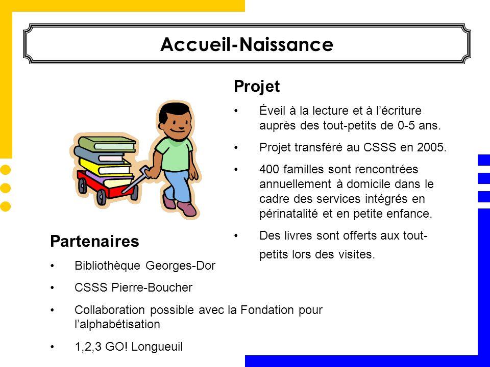 Partenaires Bibliothèque Georges-Dor CSSS Pierre-Boucher Collaboration possible avec la Fondation pour lalphabétisation 1,2,3 GO! Longueuil Accueil-Na