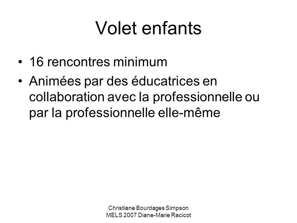 Christiane Bourdages Simpson MELS 2007 Diane-Marie Racicot Volet enfants 16 rencontres minimum Animées par des éducatrices en collaboration avec la pr