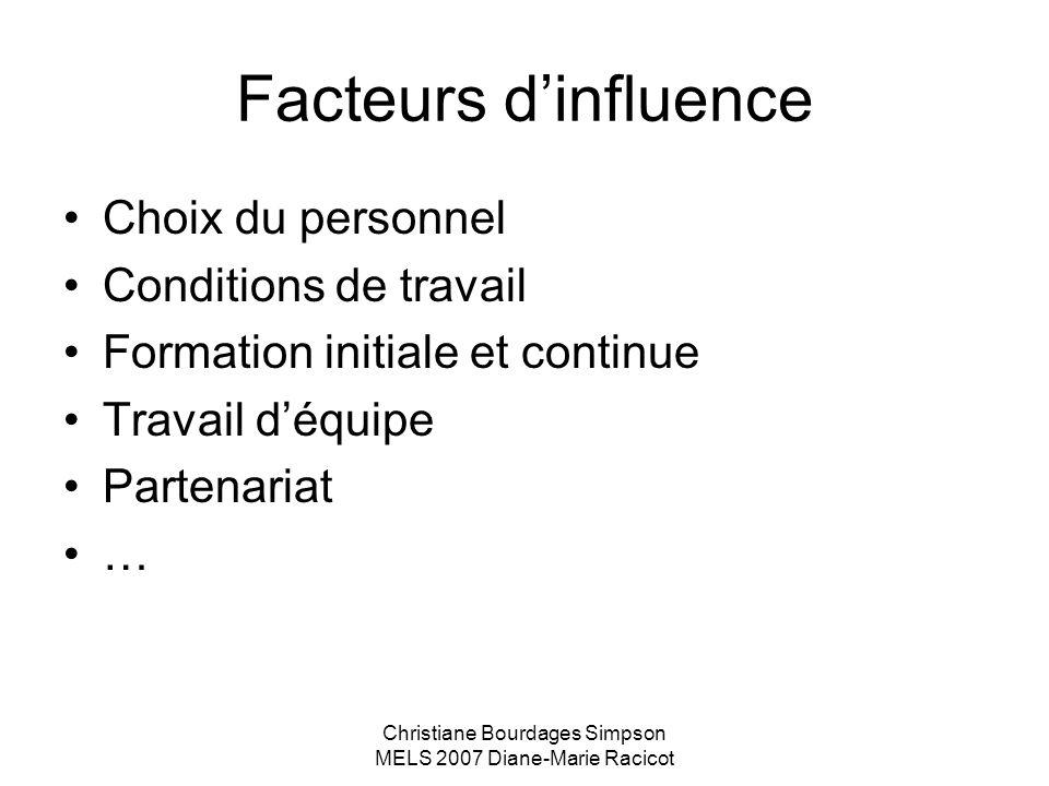 Christiane Bourdages Simpson MELS 2007 Diane-Marie Racicot Facteurs dinfluence Choix du personnel Conditions de travail Formation initiale et continue