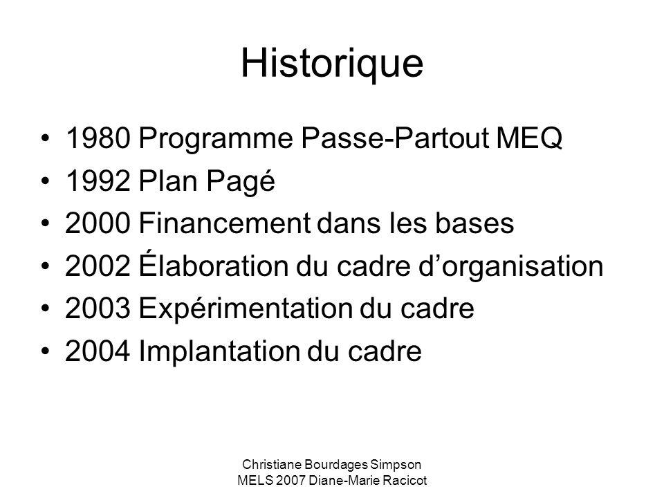Christiane Bourdages Simpson MELS 2007 Diane-Marie Racicot Historique 1980 Programme Passe-Partout MEQ 1992 Plan Pagé 2000 Financement dans les bases