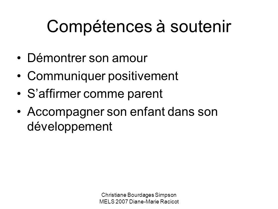 Christiane Bourdages Simpson MELS 2007 Diane-Marie Racicot Compétences à soutenir Démontrer son amour Communiquer positivement Saffirmer comme parent