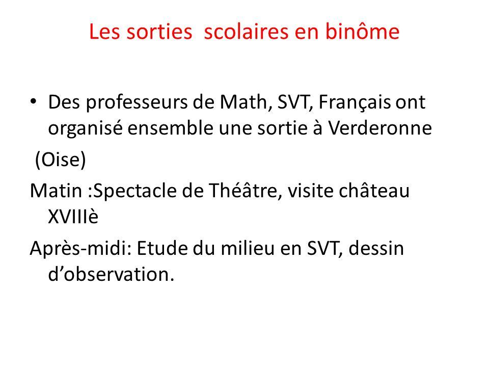 Les sorties scolaires en binôme Des professeurs de Math, SVT, Français ont organisé ensemble une sortie à Verderonne (Oise) Matin :Spectacle de Théâtr