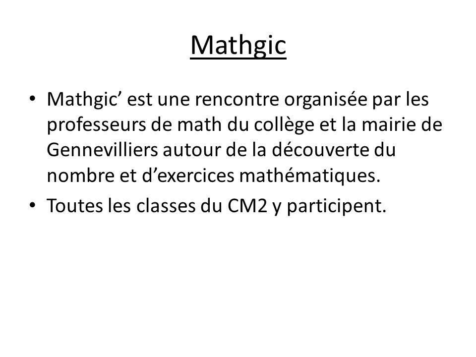 Mathgic Mathgic est une rencontre organisée par les professeurs de math du collège et la mairie de Gennevilliers autour de la découverte du nombre et