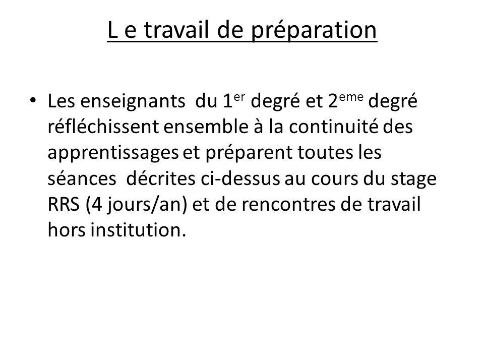 L e travail de préparation Les enseignants du 1 er degré et 2 eme degré réfléchissent ensemble à la continuité des apprentissages et préparent toutes