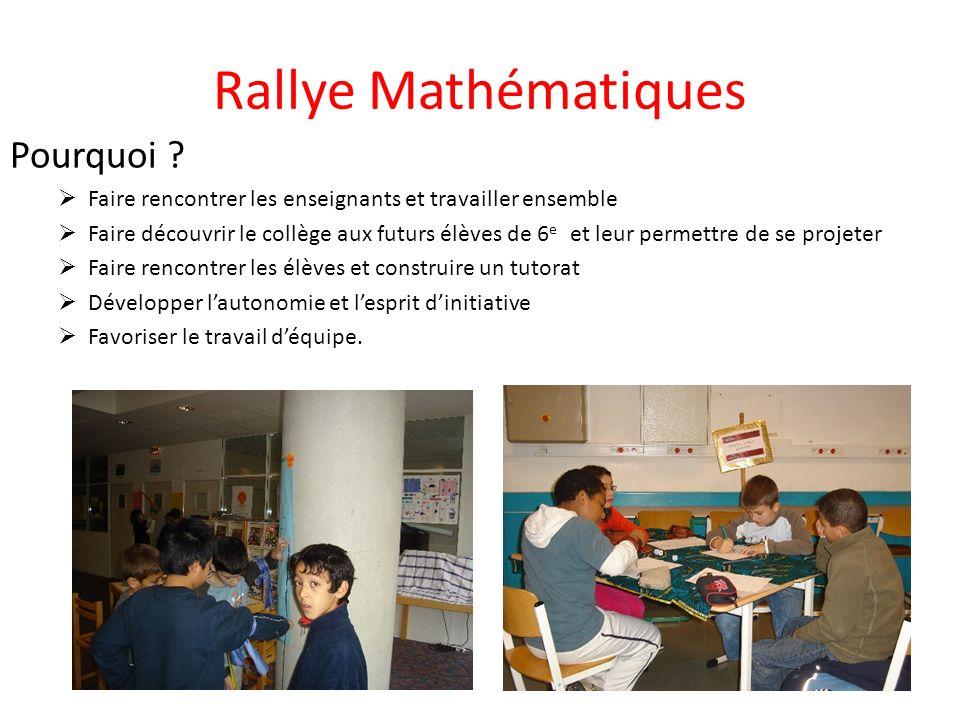 Rallye Mathématiques Pourquoi ? Faire rencontrer les enseignants et travailler ensemble Faire découvrir le collège aux futurs élèves de 6 e et leur pe