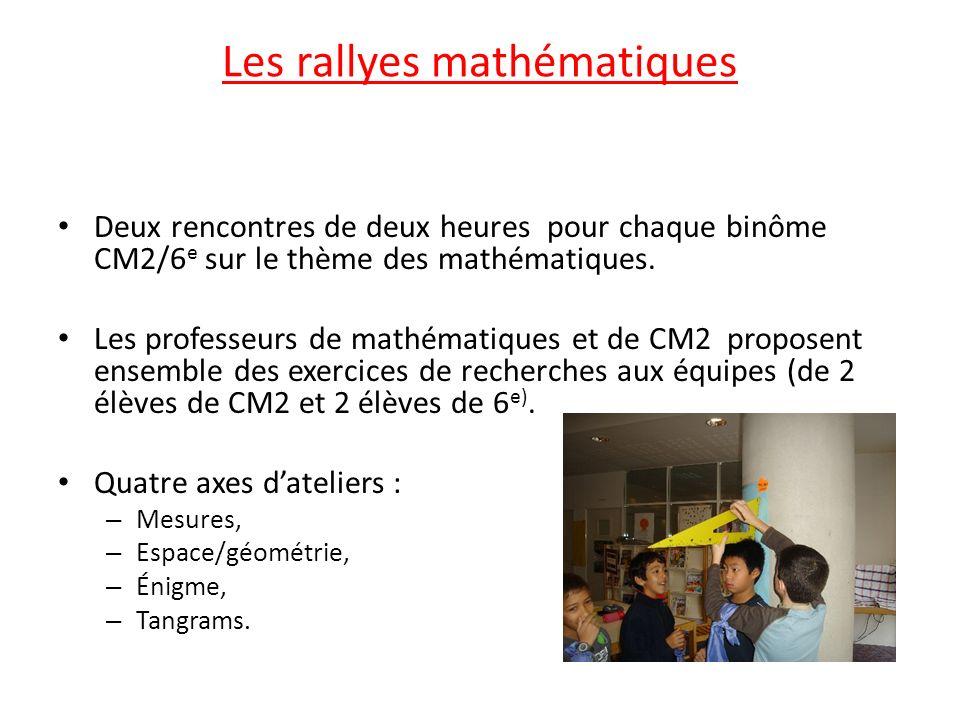 Les rallyes mathématiques Deux rencontres de deux heures pour chaque binôme CM2/6 e sur le thème des mathématiques. Les professeurs de mathématiques e