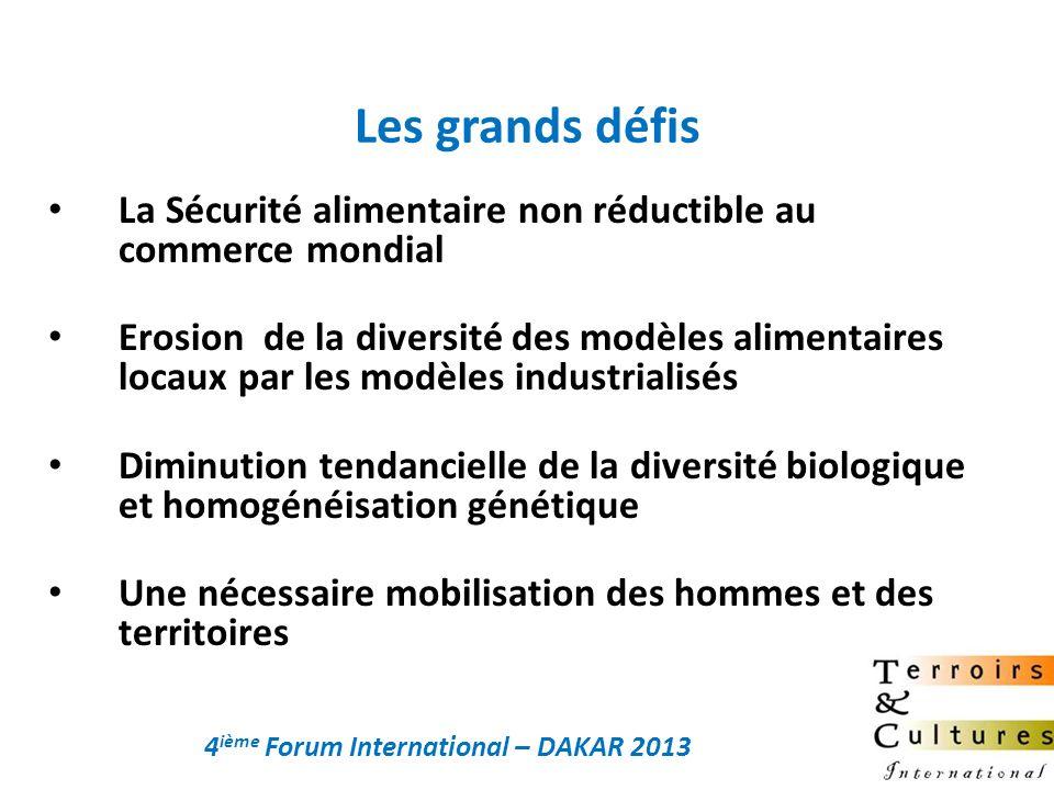 La Sécurité alimentaire non réductible au commerce mondial Erosion de la diversité des modèles alimentaires locaux par les modèles industrialisés Dimi