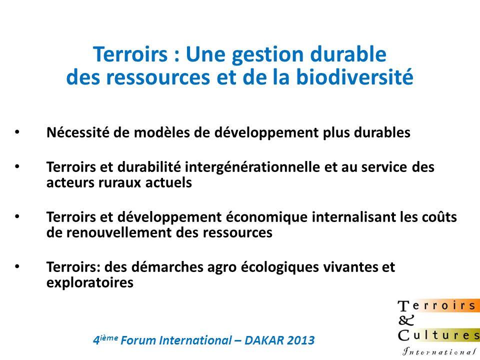 Nécessité de modèles de développement plus durables Terroirs et durabilité intergénérationnelle et au service des acteurs ruraux actuels Terroirs et d