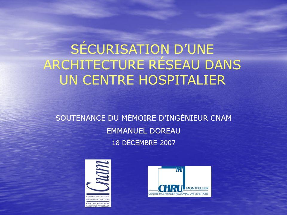 SÉCURISATION DUNE ARCHITECTURE RÉSEAU DANS UN CENTRE HOSPITALIER SOUTENANCE DU MÉMOIRE DINGÉNIEUR CNAM EMMANUEL DOREAU 18 DÉCEMBRE 2007