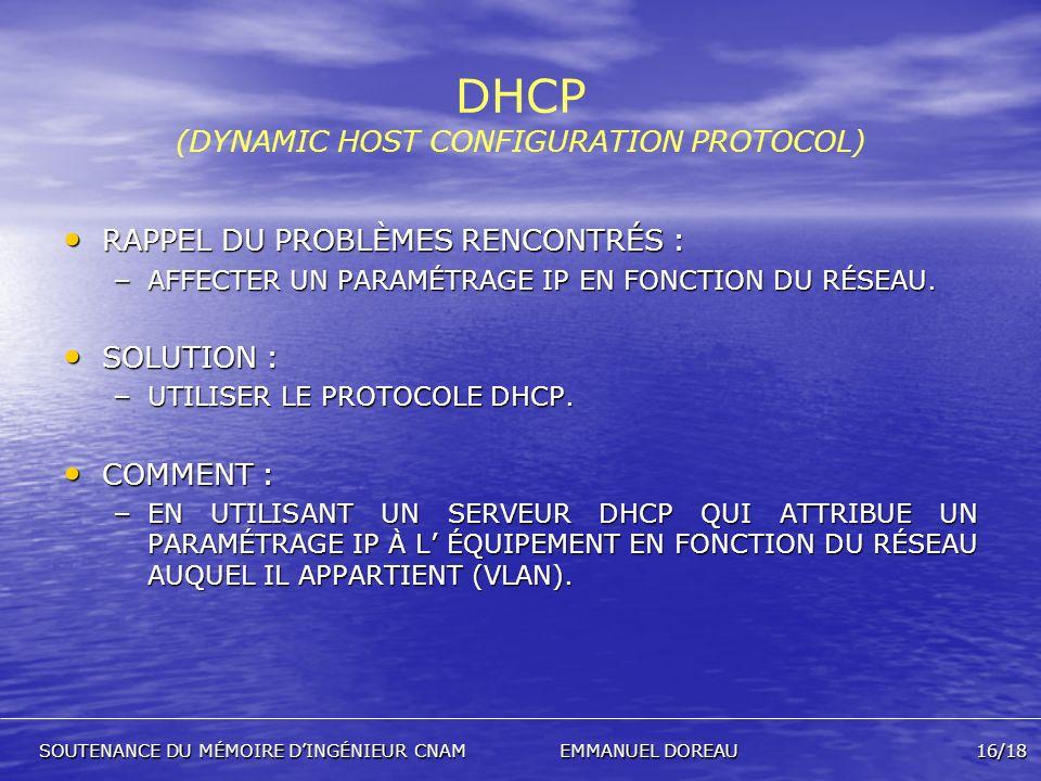 DHCP (DYNAMIC HOST CONFIGURATION PROTOCOL) RAPPEL DU PROBLÈMES RENCONTRÉS : RAPPEL DU PROBLÈMES RENCONTRÉS : – AFFECTER UN PARAMÉTRAGE IP EN FONCTION