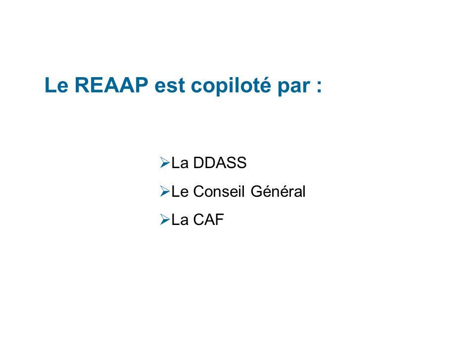 Le REAAP est copiloté par : La DDASS Le Conseil Général La CAF