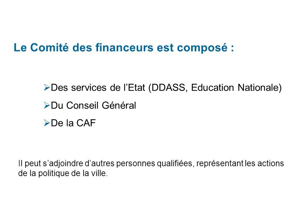 Le Comité des financeurs est composé : Des services de lEtat (DDASS, Education Nationale) Du Conseil Général De la CAF Il peut sadjoindre dautres personnes qualifiées, représentant les actions de la politique de la ville.
