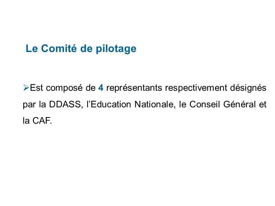 Le Comité de pilotage Est composé de 4 représentants respectivement désignés par la DDASS, lEducation Nationale, le Conseil Général et la CAF.