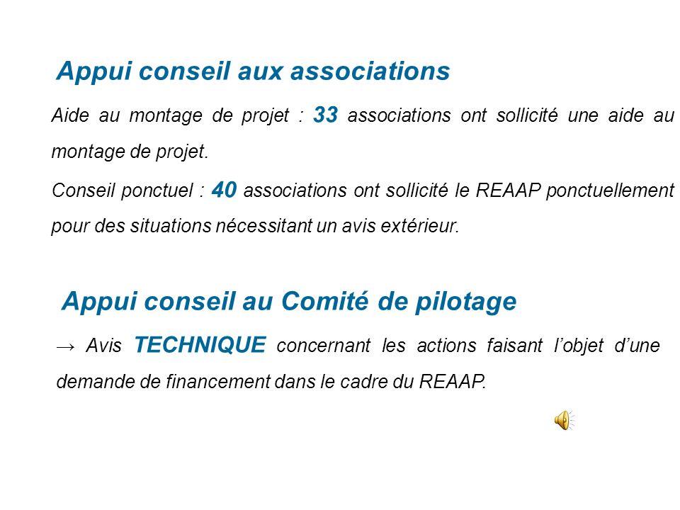 Appui conseil aux associations Aide au montage de projet : 33 associations ont sollicité une aide au montage de projet.